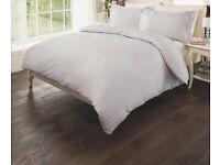 Luxury sateen stripe Grey(silver) Duvet cover king size