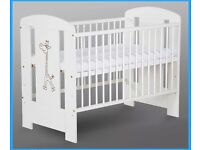 Baby cot with mattress and extras