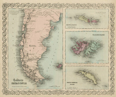Colton's Patagonia, South Orkney, Falkland Islands & South Georgia 1863 map