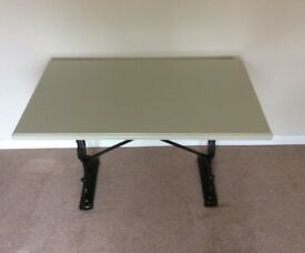 Painted 'Olive Green' Table on a Cast Iron Base