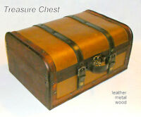 Treasure Chest, storage box – wood, leather, metal – old, clean,