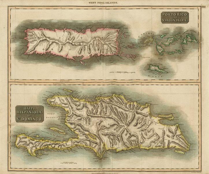 Puerto Rico & Virgin Islands. Haiti, Hispaniola or St. Domingo. THOMSON 1817 map