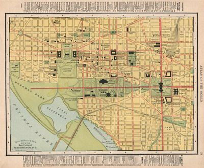 Washington D.C. town city map plan. Washington DC. RAND MCNALLY 1912 old