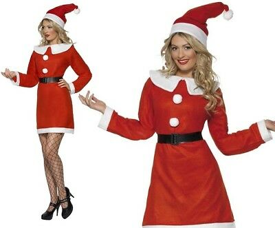 Ladies Christmas Miss Santa Lady Fancy Dress Costume - Lady Santa Outfit