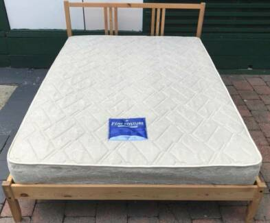 Good condition wooden frame double bed with mattress. Delivery