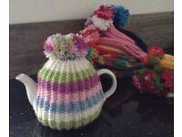 POM POM hand knitted TEA COSY teacosy EASTER EGG GIFT pastel stripe
