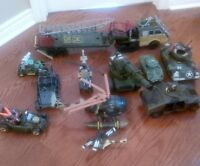 Army toys, tanks, helicopters, dune buggies, truck