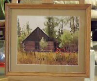 Original Watercolor Autumn Scene of a Log Cabin /meadow