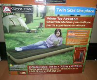 ozark trail twin size velour top airbed kit - pump included