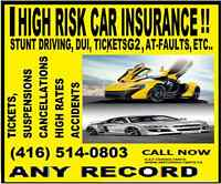 HIGH RISK/ACCIDENTS & CLAIMS, SPEEDING & STUNT DRIVING TICKETS,