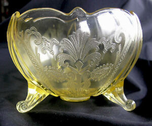 Yellow Topaz Footed Rose Bowl (Circa 1920)