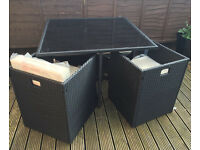 Like NEW Rattan Outdoor set + cover - Garden Conservatory Furniture Cube Chair Sofa Patio
