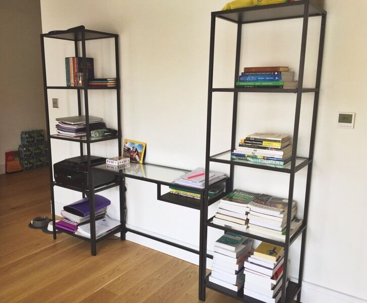 ikea vittsjo glass desk shelving unit free printer in kingston london gumtree. Black Bedroom Furniture Sets. Home Design Ideas