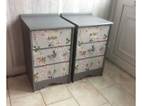 2 X Upcycled Chic Grey Three Drawers Cabinet