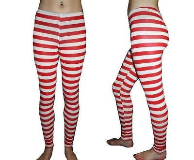 Sexy Rot & Weiß Gestreift Leggings Kostüm Cotume