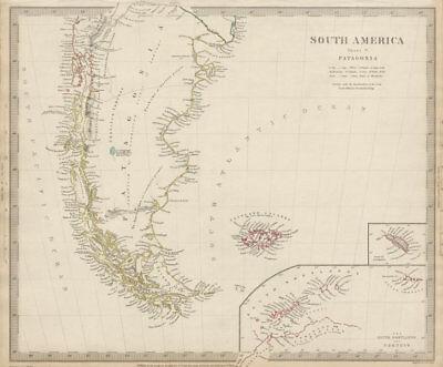 PATAGONIA. Argentina Chile Tierra del Fuego Falklands S Georgia SDUK 1844 map