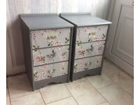 Two bedside cabinets shabby chic vintage grey