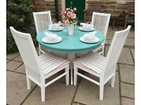 Round Dining Table & 4 Chairs ~ Shabby Chic Vintage Dining Table & 4 Chairs