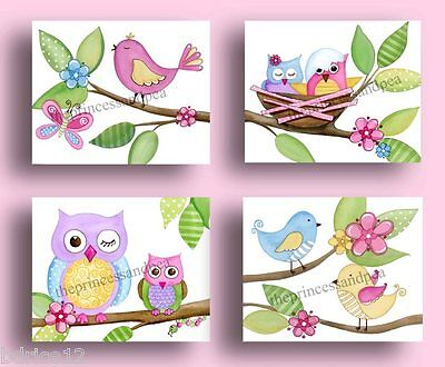 PINK GREEN LAVENDER BIRD OWL BABY NURSERY BEDDING GIRLS KIDS ART ARTWORK