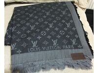 Louis Vuitton scarf shawl pashmina dark grey 140x140cm