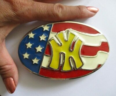 NY state NEW YORK city belt buckle enamel metal,America TV show movie prop party