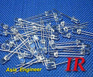 Lot-of-100-X-5mm-IR-infrared-LED-850nm-Free-Resistors