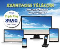DUO $70.00 TRIO $89.90 INTERNET ILLIMITÉ+TV+TÉL  12 MOIS