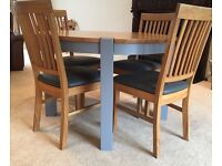 Oak & grey dining table with 4 grey faux leather chairs