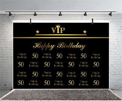 50th Birthday VIP 7x5ft Photography Party Backgrounds Decor Vinyl Backdrop Props