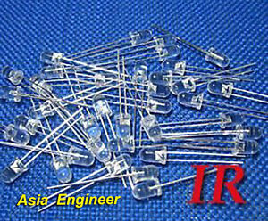 Lot-of-100-X-5mm-IR-infrared-LED-940nm-Free-Resistors