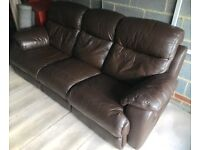 3 seater leather reclining sofa & storage foot rest