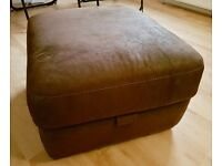 Brown Faux Suede Storage Pouffe/Footstool