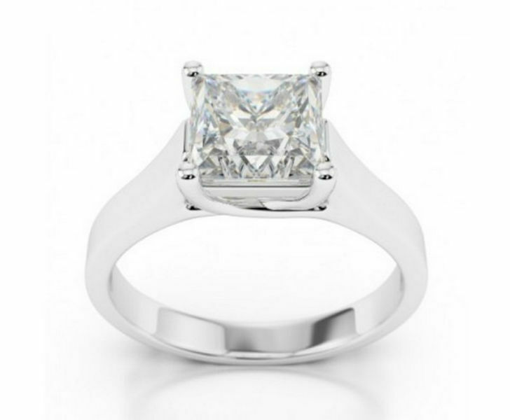 Genuine 1.50 Carat F Si3 Princess Cut Diamond Solitaire Ring 14 K White Gold