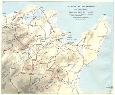 Capture of Tunis Bridgehead April-May 1943. Operations Vulcan & Strike 1966 map
