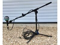 AKG D112 kick drum mic. With low boom stand and cable.