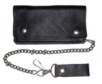6 Inch Glove Leather Biker Wallet With Chain - Black- Usa Made