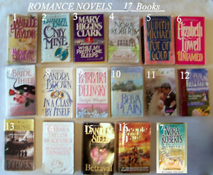17 romance novels, paperback, excellent reading, $3 ea, all $32