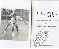 World Class Tennis Star Gardnar Mulloy Autog His Book