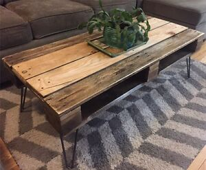 Reclaimed & Recycled Wood Coffee Table on Vintage Hairpin Legs