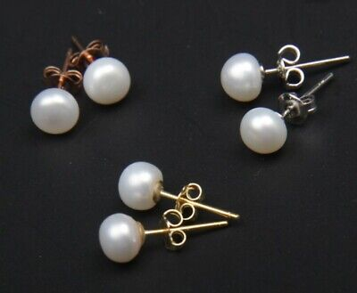 Pearl Genuine Gift Box (Genuine Gold Rose Gold Natural 8mm Freshwater Pearl Stud Earrings Gift Box )