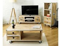 Paid £1,170! Brand New 3 piece Baumhaus Roadie Chic furniture: trunk, coffee table + TV cabinet unit
