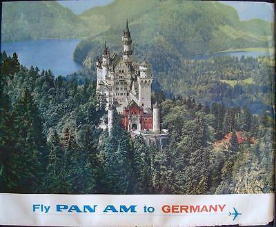 Pan Am Airlines Germany Neuschwanstein Castle Vintage 1965 Travel Poster 34 5X44