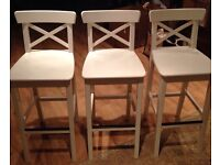 Ikea Ingolf White Bar Stools x 3 Collect in Brecon!