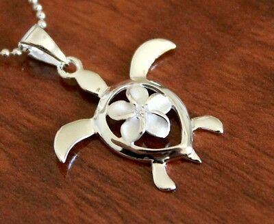 Hawaiian Jewelry - Hawaiian Jewelry 925 Sterling Silver PLUMERIA TURTLE Pendant Necklace # SP24401