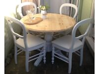 Pine round dining table & 4 chairs, dining set, kitchen table & 4 chairs