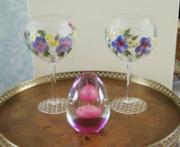 Wine Goblets (Hand Painted) - Pansy Flowers