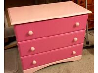 Pink Drawers and matching bookcase