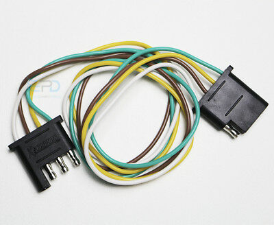 4-Pin Plug Trailer Light Wiring Harness Extension Flat Wire Connector 2ft 18awg (4 Wire Trailer Plug)