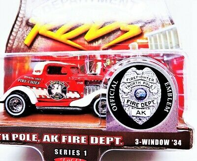 Hot Wheels Fire Rods Series 1 3-Window '34 North Pole AK FD Real Riders 3/12