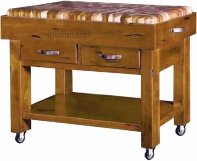 American Rustic Chopping Block w wheels Only $499 further20%off